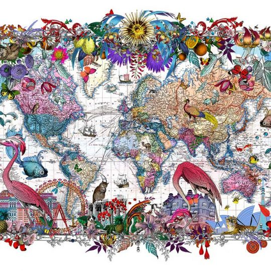Kristjana S Williams | Gull Fiskar - World map | Artist | Art prints | Modern & Contemporary Art and Interiors