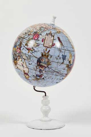 Kristjana S Williams | World Map Globe - Pale Blue (Small) | Art prints | Modern & Contemporary Art and Interiors